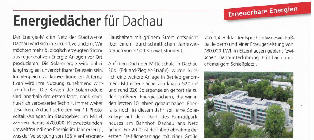 Energiedächer für Dachau Zeitungsartikel